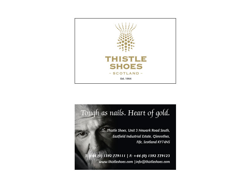 AE Struthers Thistle Shoes Business Card Layout